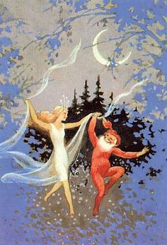 Fairy and gnome dancing. (Artist: Rudolf Koivu.)