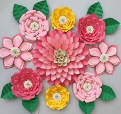 Set of 9 Large Paper Flowers  Flowers are created from a heavy quality card stock paper. Each Flower is shipped fully assembled. Convo me for custom color availability. Set of 9 Large Paper Flowers  1- Large 14-16 Dahlia Paper Flower 6- Medium 10-12 Flowers 2- Small 7-9 Flowers  Fresh Flowers made to order. *** Custom colors, sizes and styles are welcome and encouraged!!  Have a flower inspiration just itching to get out but cant find it. Let me know in a convo, I am up for the challenge