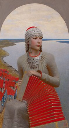 "Andrey Remnev.  I don't yet know this title; but, the scales seem to represent fish in other paintings--""the Mermaid"" and ""Volga"" for instance."