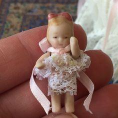 Dolls House Dollhouse OOAK Miniature Artisan Bisque Porcelain Baby Girl Doll #BeckiesBabies
