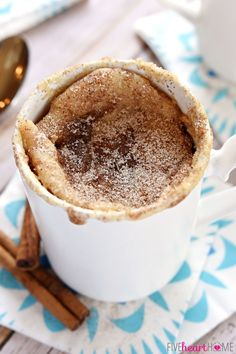 Snickerdoodle Mug Cake - Bakes up in the microwave in just one minute, yielding a warm, cinnamon-sugary treat that will satisfy any sweet tooth!