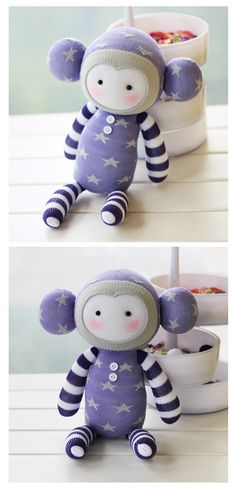 DIY Handmade Monkey Sock Doll Kit with detailed English color instruction manual D009