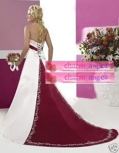 burgundy and white wedding dresses but maybe an ombré back instead of full burgundy!