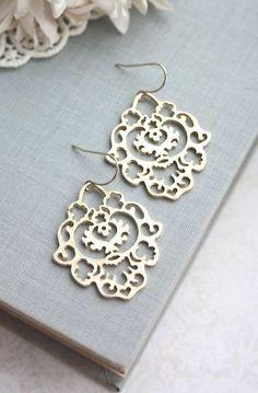 Gold Moroccan Gypsy Filigree Chandelier Earrings