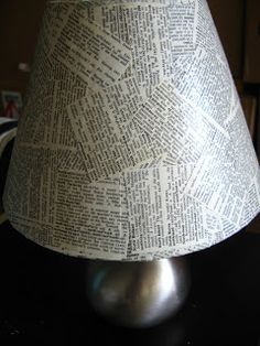 Lampshade Covered in Printed Pages