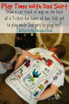 Play Time with Dad shirt, Car track on the back of a t-shirt, DAD gets a nap and kids get to PLAY it is a Win- Win #FathersDay #Gift. #DIY, #Dad, #Craft, #Boys: