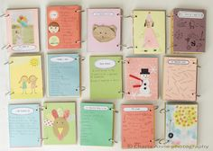 awesome little art journals - they made a page about their personality traits, what they want to be when they grow up, their favorite color, things they love, three things they wish for, their favorite food, what they are thankful for, and their favorite thing to do. @Charla Anne