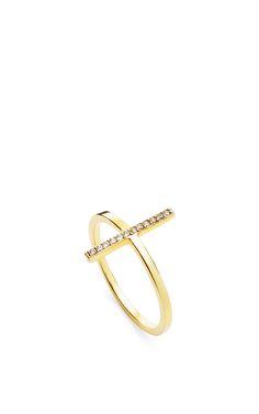 14K Yellow Gold Uni Diamond Bar Ring by Mateo