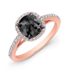 black diamond rose gold ring | Gold Rose Black Diamond Ring -