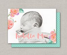 Baby Girl Birth Announcement Isabella by announcingyou on Etsy