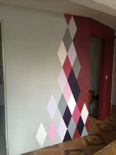 Wandgestaltung Kitchen - dining room wall transition Various Types Of Flooring For Homes Floors are Diy Wand, Bedroom Wall Designs, Bedroom Decor, Geometric Wall Paint, Wall Paint Patterns, Painting Patterns, Room Wall Painting, Wall Painting Design, Dining Room Walls