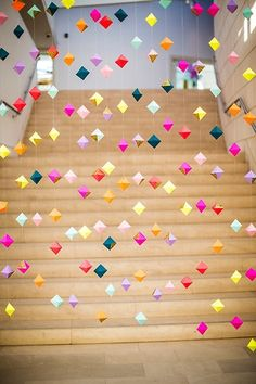 crafts: Paper diy rhombus garland for kids - mobile, paper garland crafts,... - Decor