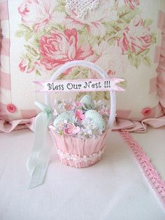 "https://flic.kr/p/7Hd3xe | Bless Our Nest Basket | One of my sweet Nesting baskets for the shop. This one is ""Bless our Nest"".  Copyright 2007-2010 Rhea Cominolo aka Sweet n Shabby Roses."