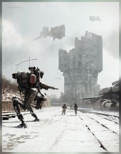 The incredible science fiction themed artworks of Kait Kybar, a concept artist and digital illustrator working in the entertainment industry Steampunk, Cyberpunk Rpg, Arte Horror, Matte Painting, Science Fiction Art, Amazing Drawings, To Infinity And Beyond, Future City, Design Inspiration