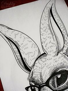 #geek #bunny #illustration (detail) by #dushky