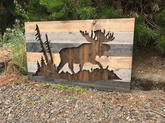 Moose rustique Silhouette Art mural bois