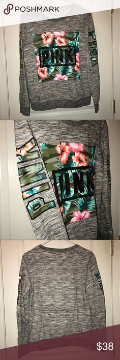 VS Pink Palm Print Crewneck Sweater Good condition.  Barely worn.  No rips/holes/stains.  Fits A little bigger  Will offer discount if bundled with another item.   NO HOLDS NO FREE SHIP NO TRADES Price is firm PINK Victoria's Secret Sweaters Crew & Scoop Necks