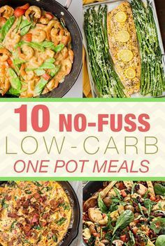 No-Fuss Low-Carb One Pot Meals For those hectic weekdays you'll need these 10 No-Fuss Low-Carb One Pot, One Pan Meals - easy, simple, and healthy!Easy Easy may refer to: No Carb Recipes, Diet Recipes, Cooking Recipes, Carb Free Meals, Primal Recipes, Diet Meals, No Carb Meal Ideas, Low Carb Low Salt Recipes, No Carb Healthy Meals