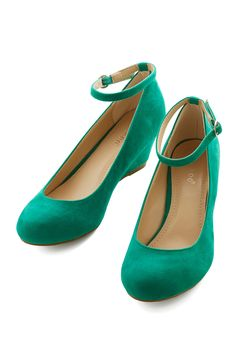 Work Your Style Wedge in Emerald. Presenting a professional, personal appearance is a part of your success, and these low, emerald wedges prove integral to your darling daily style! #green #modcloth
