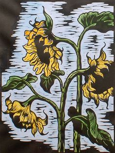 Linocut sunflowers with watercolor Illustrations And Posters, Linocut, Flower Art, Linocut Prints, Floral Art, Sunflower Art, Art Inspiration, South African Artists, Prints