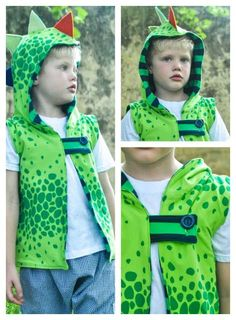 Hooded Dragon Vest sewn with Lillestoff Fabric.  Tutorial and FREE pattern.