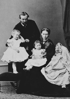 Princess Alice and Louis of Hesse with their eldest daughters, Victoria and Elisabeth. 1865