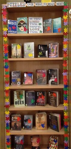 Puzzled over what to read next display/ Liked this, love this. Library display