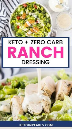 Keto Ranch Dressing Recipe, Keto Salad Dressing, Homemade Ranch Dressing, Dressings, Potato Salad, Dairy Free, Zero, 4 Ingredients, Ketogenic Recipes
