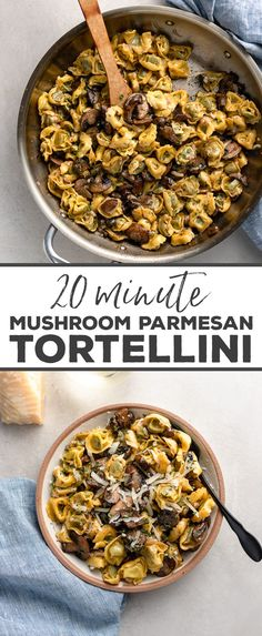 Tortellini with Mushrooms, Butter, and Parmesan - Need dinner? Have 20 minutes? This quick and easy recipe for fresh tortellini made with sautéed mushrooms, butter, and tangy Parmesan cheese puts a delicious meal on your table in 20 minutes flat! Quick Easy Meals, Easy Dinner Recipes, Gourmet Recipes, Vegetarian Recipes, Cooking Recipes, Wasy Dinner Ideas, Quick Easy Healthy Dinner, Quick Recipes For Dinner, Quick And Easy Recipes