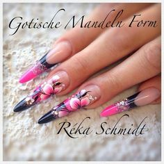 Pink and black stilettos with one stroke floral design