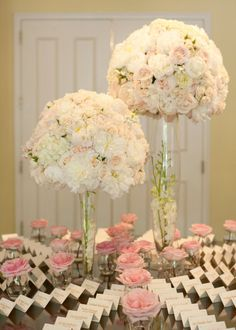 Heavenly tall formal wedding centerpieces.Style Me Pretty | Gallery