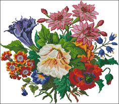 Embroidery Patterns Free, Vintage Embroidery, Roses And Violets, Stitch 2, Cross Stitch Designs, Needlework, Antiques, Flowers, Painting