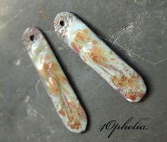 peach white gold aventurine swirl design enamel sticks with glass lampwork jewelry supplies 2pc 4ophelia