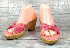 American Eagle Heels Womens 8 M Pink Multi-Color Plaid Fabric Sandals Shoes #AmericanEagle #OpenToe