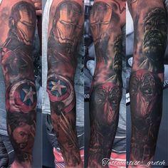 Sleeve I'm workin on. Added #captainamerica shield the rest is healed #sleeve #tattoosleeve #marvel ...