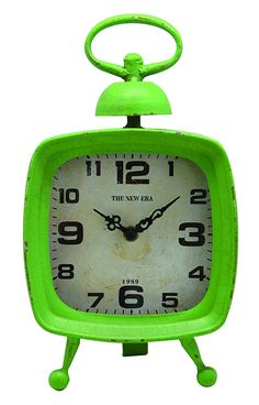 NIKKY HOME Metal Retro Cottage Quartz Square Table Clock with Handle 10'', Green ** Remarkable discounts available  : Home Decor Clocks