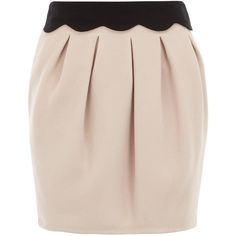 Scallop detail waffle skirt ($44) ❤ liked on Polyvore