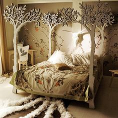 This woodland-themed bedroom is the perfect escape for a teen. Jocelyn Haney originally pinned this inspiring oasis from Etsy.  Visit our Dream Kids Rooms Pinterest Board to see the rest of our dream room picks, including some unique nurseries!  Image Source: Etsy.com