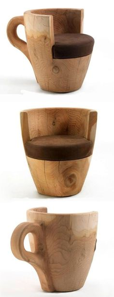 TAFFEE: Coffee Cup-Shaped Armchair Derived From Cedar-wood Trunk Ideal for both coffee shops and dwellings, the TAFFEE apart from bringing uniqueness also add a natural aromatic smell in the environment. Coffee Shop Furniture, Trunk Furniture, Cafe Furniture, Steel Furniture, Refurbished Furniture, Unique Furniture, Repurposed Furniture, Rustic Furniture, Furniture Makeover