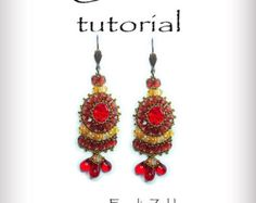 Carmen Beading tutorial.Beaded pattern earrings. ! PDF file containing instructions . by emeliebeads. Explore more products on http://emeliebeads.etsy.com