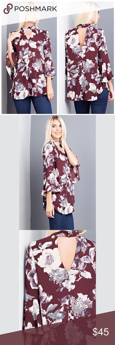 """Ella 🔸 Floral Flowy Top d e s c r i p t i o n  This gorgeous flowing floral print top is a must have for any fall wardrobe. The bell sleeves and a unique neckline make this top a find for the transition to fall.  c o n t e n t  100% polyester   m e a s u r e m e n t s ✂️  I wear + M > Bust + 38"""" > waist + 29.5""""  p a i r e  w i t h 🌙  + light/white jeans + sandals 💵 bundle for a discount VEGA Tops Blouses"""