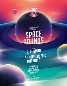 Space Sounds Party Flyer on Behance Space Illustration, Graphic Design Illustration, Digital Illustration, Graphic Design Posters, Graphic Design Inspiration, Poster Designs, Typography Design, Galaxy Theme, Space Sounds