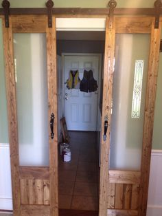 Sliding Doors To Laundry Room DIY Sliding French . Converting Laundry Latches Into Door Or Drawer Pulls A . Home and Family Sliding French Doors, Sliding Door Design, Double Doors, Laundry Room Doors, Bathroom Doors, Closet Doors, Closet Redo, Bathroom Closet, Glass Bathroom