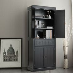 This is the practical storage cabinet with a large space that can help you make full use of space in your room. Not only can the cabinet be placed in the kitchen as a cupboard, but also it is ideal to be a normal cabinet in your bedroom, living room, and hallway to add a functional storage option. The storage cabinet has two double-door cabinets and one large center drawer which will provide spacious space for your items such as dishes, books, and bottles.