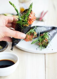 Smoked Salmon Handrolls with Wakame Salad