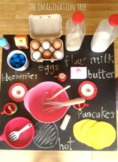 Pancake making pretend play activity - A great activity to go with Eric Carle& Pancake, Pancake! or Laura Numeroff& If You Give a Pig a Pancake. Dramatic Play Area, Dramatic Play Centers, Laura Numeroff, Role Play Areas, Imagination Tree, Play Centre, Eric Carle, Preschool Activities, Pancake Day Eyfs Activities