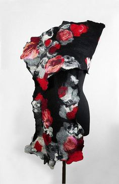 Felted Scarf Nunofelt Wrap wearable art Silk Scarves by filcant