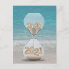 New Year 2021 Sand Timer for client Holiday Postcard | Zazzle.com