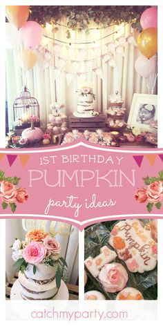Don't miss this beautiful fall-themed pumpkin birthday party! The naked cake. Don't miss this beautiful fall-themed pumpkin birthday party! The naked cake covered with fre 1 Year Birthday Party Ideas, Halloween First Birthday, 1st Birthday Party For Girls, Girl Birthday Themes, 21st Birthday, October Birthday, Fall 1st Birthdays, Pumpkin 1st Birthdays, Pumpkin Birthday Parties