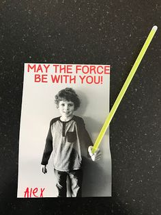 Easy photo Valentine with Star Wars theme and light saber! Glow bracelets make the perfect light saber! Print at home or at your local drug store. Great for boys or girls!